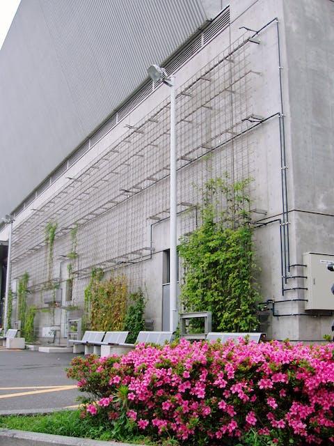 【商業施設の施工例】大規模国際展示場の壁面緑化へ自動散水を行いヒートアイランド現象を緩和する。